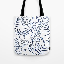 Tropical Plant Boho Chinoiserie Blue and White Tote Bag