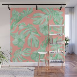 Tropical Palm Leaves Hibiscus Flowers Coral Green Wall Mural