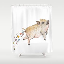 Pooping Pig Shower Curtain