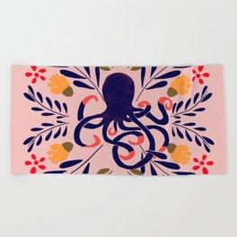 Sweet Octopus Pink Beach Towel