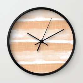Light Blush Watercolor Stripes And Lines Wall Clock