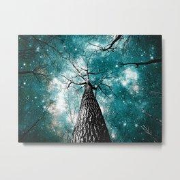 Wintry Trees Galaxy Skies Teal Metal Print