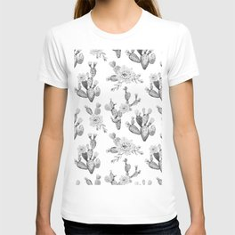 Cactus Rose Garden Black and White T-shirt