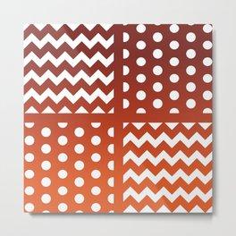 Autumn Gradient/White Chevron/Polkadot Pattern Zigzag Spot Fall Decor #ArtofGaneneK Metal Print