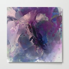 Purple Flower Edited Watercolor Metal Print