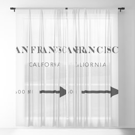 San Francisco California City Miles Arrow Sheer Curtain