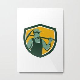 Coal Miner With Pick Axe Shield Retro Metal Print