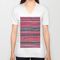 batik V-neck T-shirts featuring Batik Attack by RAMALAMA