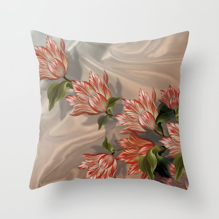 Coral flowers on white silk air spring throw pillow by marcanton coral flowers on white silk air spring throw pillow mightylinksfo