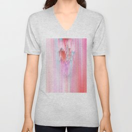 Abstract Cascade Glitch 2.Red and Pink Unisex V-Neck