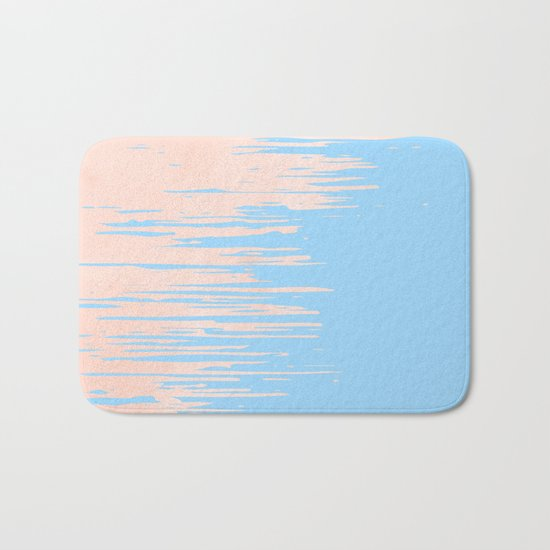 Carefree - Sweet Peach Coral Pink on Blue Raspberry Bath Mat