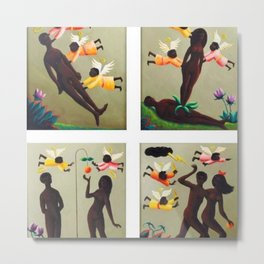 African American Masterpiece 'Adam and Eve' by O. Bulman Metal Print