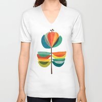 whimsical V-neck T-shirts featuring Whimsical Bloom by Picomodi