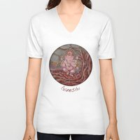 ganesha V-neck T-shirts featuring Ganesha by Sincronizarte