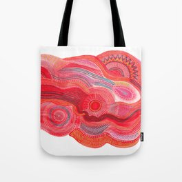 zentangle red flow Tote Bag