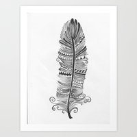 Black and White Feather Zen Art Print
