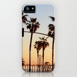 Huntington Beach Summer Sunset at the pier iPhone Case
