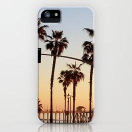 Huntington Beach Summer Sunset at the pier iPhone Case
