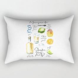Margarita Recipe Watercolor Illustration Rectangular Pillow