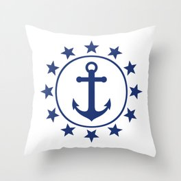 Navy Blue Anchors and Stars Nautical Pattern Throw Pillow