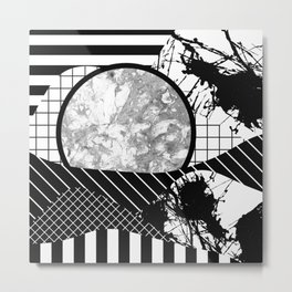 Eclectic Black And White - Black and White Abstract Patchwork Textured Design Metal Print