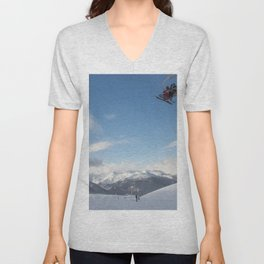 Skiers on chairlift 2 Unisex V-Neck