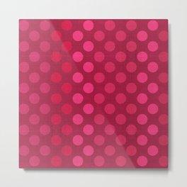 """Rose fuchsia Burlap Texture & Polka Dots"" Metal Print"