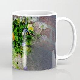 Pansies in Wood Box Coffee Mug