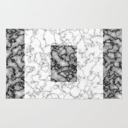 Black and white marble texture 3 Rug