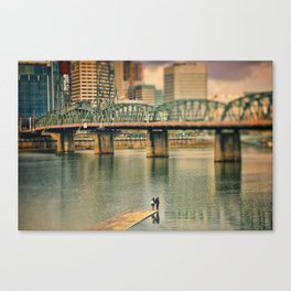 Lovers Under the Bridge Canvas Print
