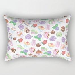 Pink teal trendy sweet macaroons cookies cupcake pattern Rectangular Pillow