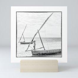 Mozambique, Sailing dhows on the Ilha de Moçambique Mini Art Print