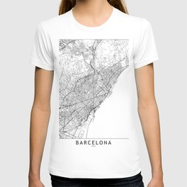 Barcelona White Map T-shirt
