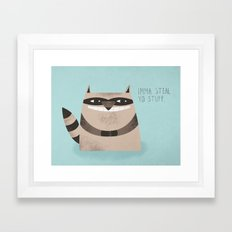 Sneaky Raccoon Framed Art Print