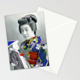 Vintage hand tinted Japanese postcard Stationery Cards