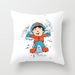 Children lying on snow as snow angels. Throw Pillow