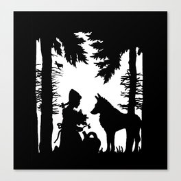 Black Silhouette Red Riding Hood Wolf in Woods Trees Canvas Print