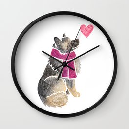 Watercolour Keeshond Wall Clock