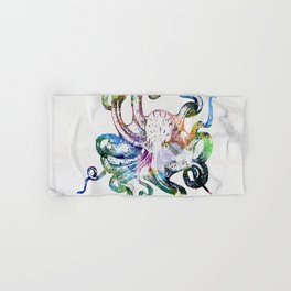 Watercolour Octopus on Marble Background Hand & Bath Towel