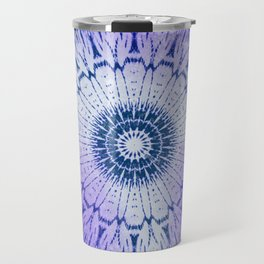 tie dye sunflower mandala in blues Travel Mug
