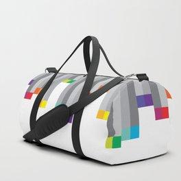 Pixel Rainbow on White Duffle Bag