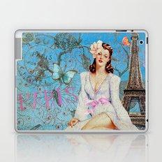 Paris -mon amour-Fashion Girl in France Eiffeltower Nostalgy- French Vintage Laptop & iPad Skin