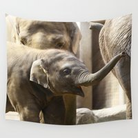 baby elephant Wall Tapestries featuring Baby Elephant by Päivi Vikström