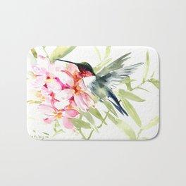 Hummingbird and Plumeria Flowers Bath Mat