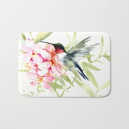 Hummingbird and Plumeria Flowers Bath Mat