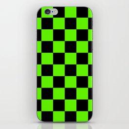 Checkered Pattern: Black & Slime Green iPhone Skin