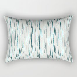 Tropical Dark Teal Abstract Grunge Vertical Stripe Pattern Inspired by Sherwin Williams 2020 Trending Color Oceanside SW6496 on Off White Rectangular Pillow