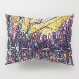 A Beautiful Sunset That Was Mistaken For A Dawn Oil Painting with a Palette Knife Pillow Sham