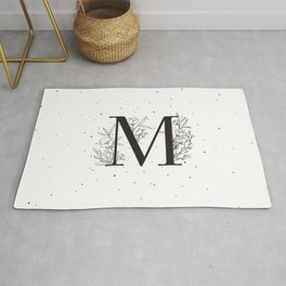 Black Letter M Monogram / Initial Botanical Illustration Rug
