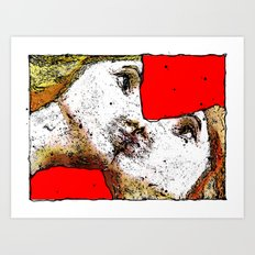 women kiss Art Print